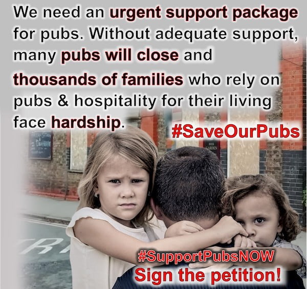 An urgent package of support is needed to save our world-famous pubs as England and Scotland both put into lockdown again