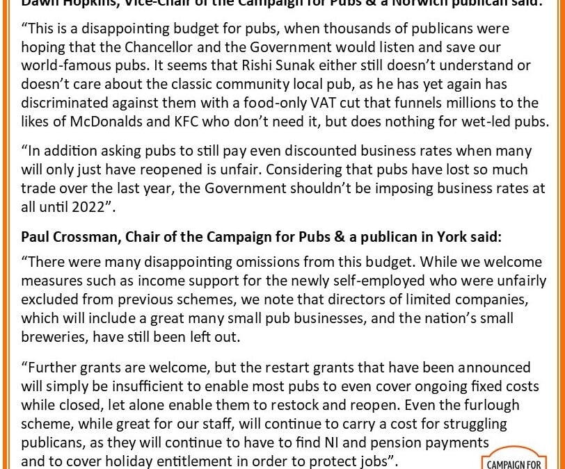 Disappointing budget for pubs is not enough to save many as the Government continues to discriminate against traditional locals