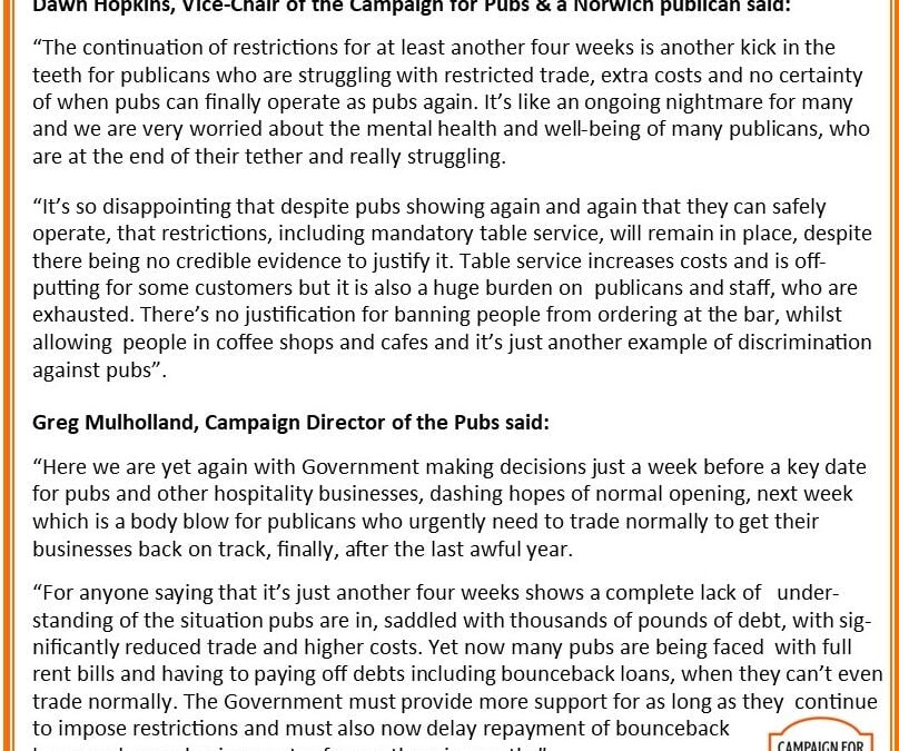 Campaign for Pubs comments on the Prime Minister's announcement of a 4 week delay of unlocking